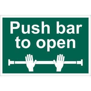 DRAPER 'Push Bar To Open' Safety Sign